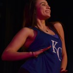 "Sophomore Maggie Mulligan dances in the song ""Amazing Mayzie"" as a birdgirl. Photo by Izzy Zanone"
