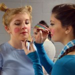 Junior Harper Bundy does Senior Emma Goode's Who makeup. Photo by Izzy Zanone