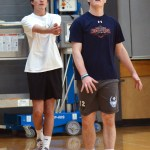 Sophomores David McConahay and Griffin Fries watch their team play in team games. Photo by Morgan Plunkett