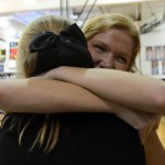 """Senior Hope Hess recalls from senior night: """"My dad, who had played pro baseball and didn't like that I had quit all my sports to become a cheerleader, came up to me and said he was proud of me and that's when I started to get really sad"""" Photo by Annie Lomshek"""