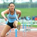Junior Bella Stamati is the only girl in her heat of 100 meter hurdles. Photo by Luke Hoffman