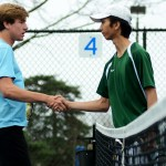 Sophomore Harrison Gloe shakes hands with his opponent after their victory against their opponents from SMS. Photo by Luke Hoffman