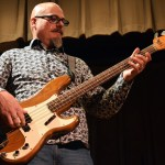 """Matt Kesler, a musician in the local band, Jeanie and the Remnants, plays the bass during the bands original song """"Ring-A-Ling"""". Photo by Audrey Kesler"""
