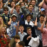 The East student section chants after the referees make a call they did not agree with. Photo by Lucy Morantz
