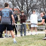 Senior Parker Shirling advances towards senior Eli Kurlbaum during their duel. Photo by Haley Bell