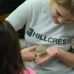 Senior Michaela Tow holds a bearded dragon while she teaches the kids about it. Photo by Ty Browning
