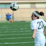 Freshman Giana Loscalzo heads the ball to her teammate in the second half of the game. Photo by Luke Hoffman