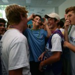 At the start of the dance, freshmen Tommy Dreyer and Cade Eldred joke around with their friends. Photo by Ellie Thoma