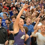 """Seniors in the senior section chant and go crazy together during the """"Senior, Senior!"""" chant. Photo by Audrey Kesler"""