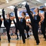 Varsity lancer dancers perform together during the pep assembly. Photo by Audrey Kesler