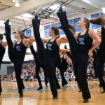Varsity lancer dancers perform together during the pep assembly. Photo by Audrey Kesler