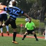 Senior Kristian Jespersen attempts to score a goal while