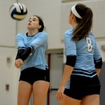 Freshman Rose Kanaley attempts to move backward and return the ball. Photo by Luke Hoffman