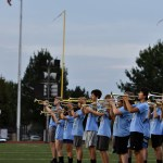 The band performs the National Anthem before the game begins. Photo by Lucy Morantz