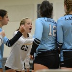Sophomore Sky Hueser, the libero for the JV team, leads the other girls in a chant to boost morale as East is down 17-21
