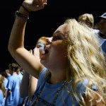 Sophomore Josephine McCray does the tomahawk chop chant during the Rockhurst game. Photo by Aislinn Menke