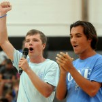 Seniors Thomas Luger and Cooper McCullough  lead the school in new cheer preparing everyone for the Lancer Day football game. Photo by Izzy Zanone