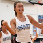 Sophomore Ellie Brown leads the JV Lancer Dancers while performing. Photo by Ty Browning