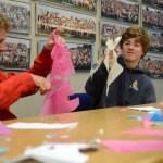 Sophomore Nick Arensburg messes around with his stencil. Photo by Ty Browning