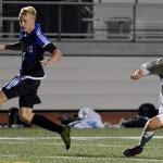 Senior Cooper McCullough slips as he chases an ONW player. Photo by Ally Griffith