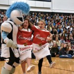 The lancer mascot joins in on Moreland and McCullough's dance. Photo by Lucy Morantz