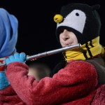 Sophomore Sarah Hook plays her instrument during the halftime show. Photo by Reilly Moreland