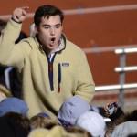 Senior Matt McGannon pumps up the crowd. Photo by Reilly Moreland