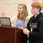 Juniors Ashley Grills and Cameron Paddock practice their debate. Photo by Luke Hoffman