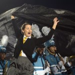 Junior Sophie Lawrence tries to handle the sheet used as a prop with the lancer dancers and band. Photo by Ty Browning