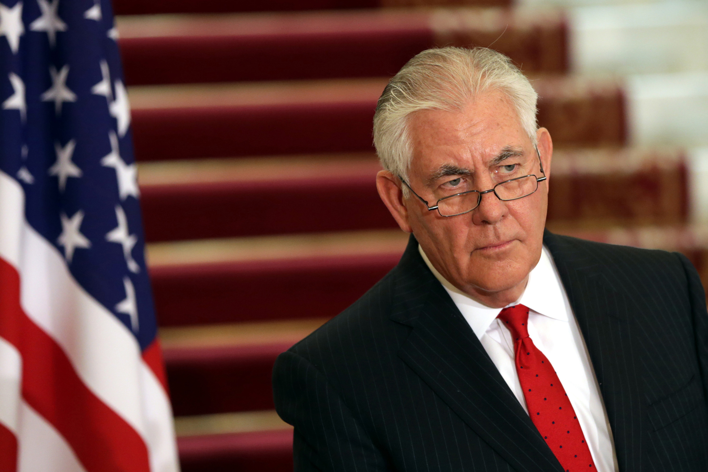 """Secretary of State Rex Tillerson during a news conference in Cairo, Egypt, on Feb. 12, 2018. Tillerson warned Wednesday that """"going wobbly"""" on truth endangers American democracy. (Xinhua/Sipa USA/TNS)"""