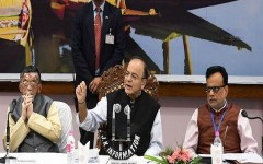 Finance Minister Arun Jaitley along with finance ministers from all states addressing media perosns at SKICC in Srinagar. Express Photo By Shuaib Masoodi 18-05-2017