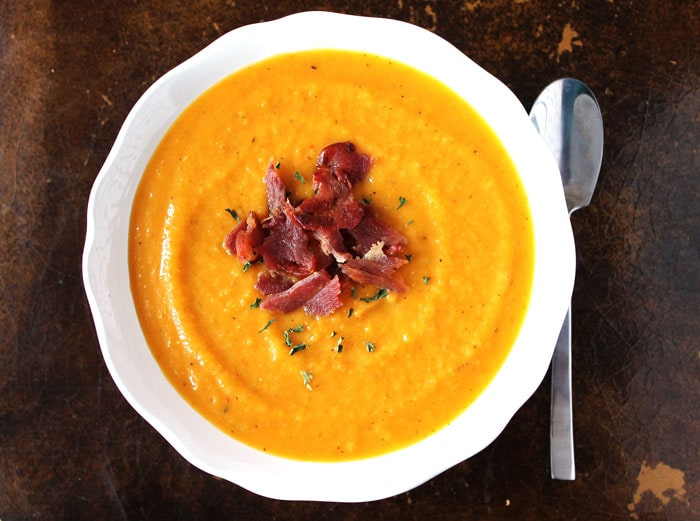 Apple and Butternut Squash Soup with Bacon