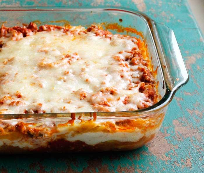 Spaghetti Squash Lasagna with Turkey Meat Sauce - Smile Sandwich