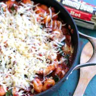 One Pan Cheesy Sausage Gnocchi Skillet