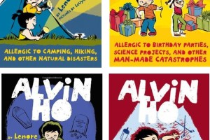 Alvin Ho: Allergic to Camping, Hiking, and Other Natural Disasters (Book 2), Allergic to Birthday Parties, Science Projects, and Other Man-Made Catastrophes (Book 3), Allergic to Dead Bodies, Funerals, and Other Fatal Circumstances (Book 4), Allergic to Babies, Burglars, and Other Bumps in the Night (Book 5) by Lenore Look, illustrated by LeUyen Pham