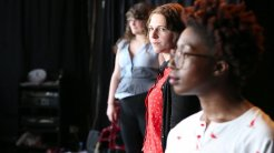 Maddy, Emma & Viv in Titus Andronicus rehearsals