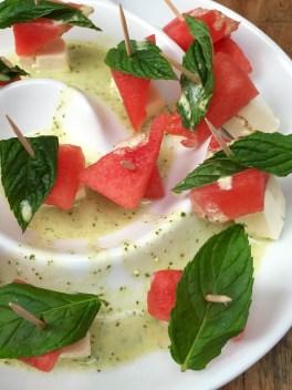 Wassermelonen Feta Minz Spieße