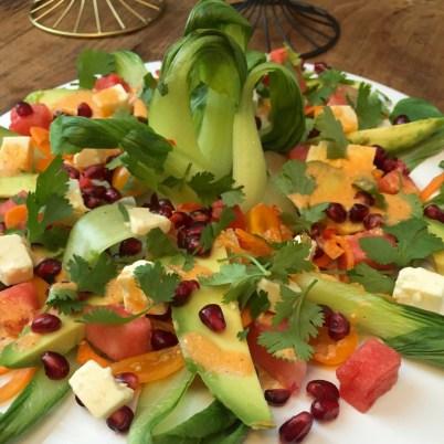 Pak Choi Salat und Wassermelonen Vinaigrette
