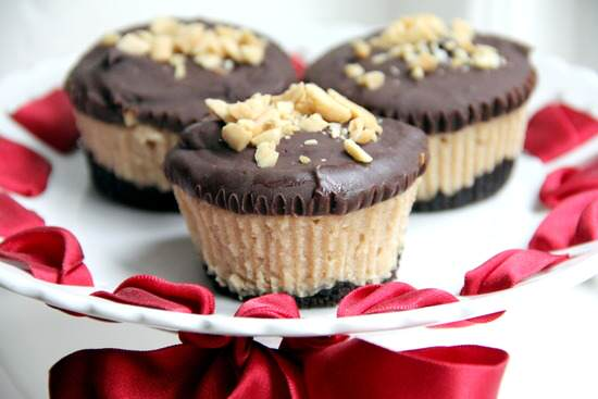 Mini Buckeye Cheesecakes Recipe - an easy chocolate peanut butter cheesecake | snappygourmet.com