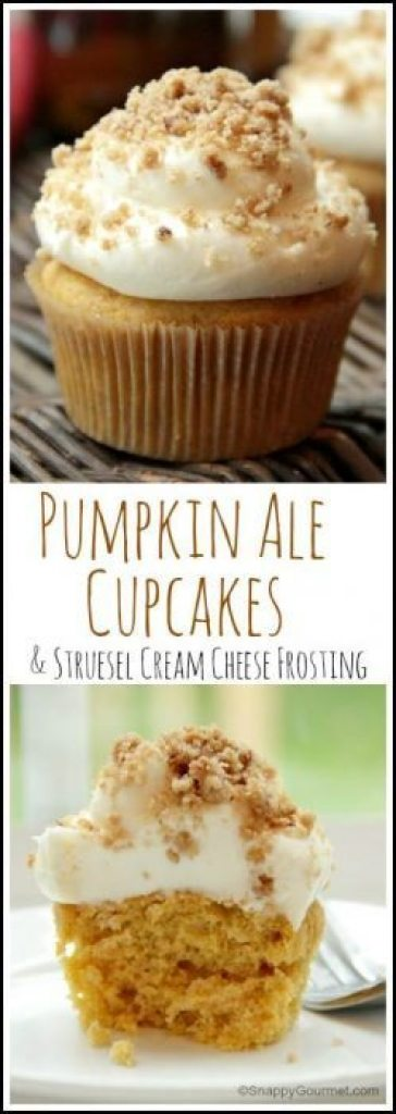 Pumpkin Ale Cupcakes with Streusel Cream Cheese Frosting recipe - easy homemade cupcake recipe. The best from scratch cupcake for fall, Halloween, or anytime! SnappyGourmet.com