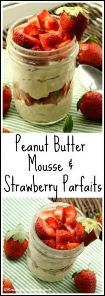 "Peanut Butter ""Mousse"" & Strawberry Parfaits - easy homemade healthy snack that fills you up!"