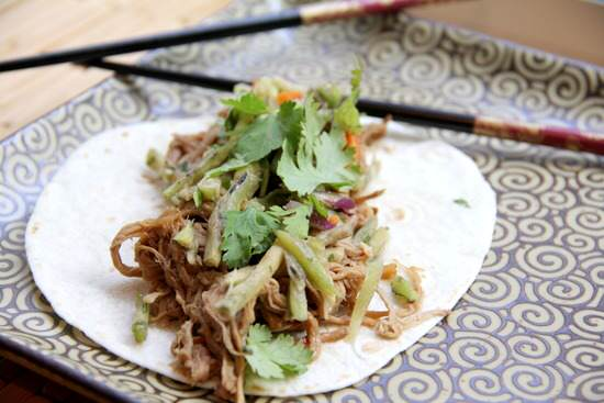 (Slow Cooker) General Tso's Slow Cooked Pork Tacos with Orange Broccoli Slaw Recipe | SnappyGourmet.com