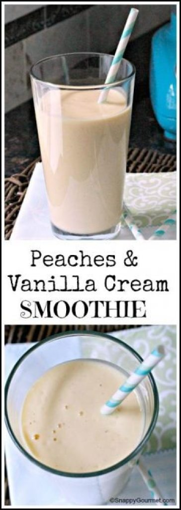 Peaches & Vanilla Cream Smoothie - easy homemade smoothie recipe great for an after school snack! SnappyGourmet.com