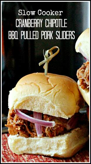 (slow cooker) Cranberry Chipotle BBQ Pulled Pork Sliders Recipe | SnappyGourmet.com