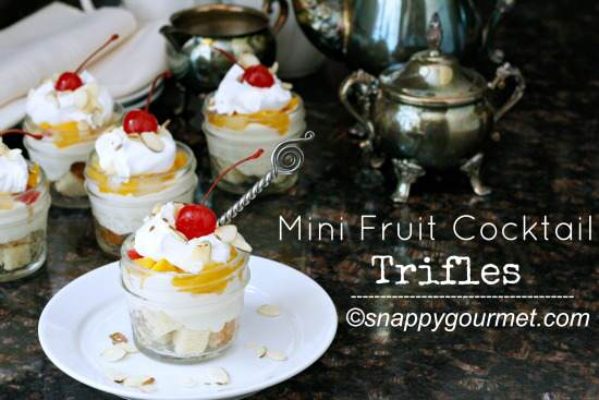 Mini Fruit Cocktail Trifles | snappygourmet.com