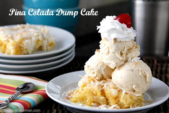 Pina Colada Dump Cake Recipe - easy homemade dessert with only 5 ingredients including pineapple, coconut, and rum! SnappyGourmet.com