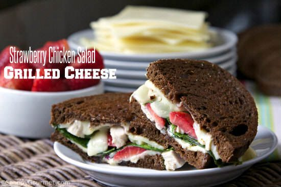 Strawberry Chicken Salad Grilled Cheese - Easy homemade chicken salad combined with grilled cheese for a quick gourmet sandwich! SnappyGourmet.com