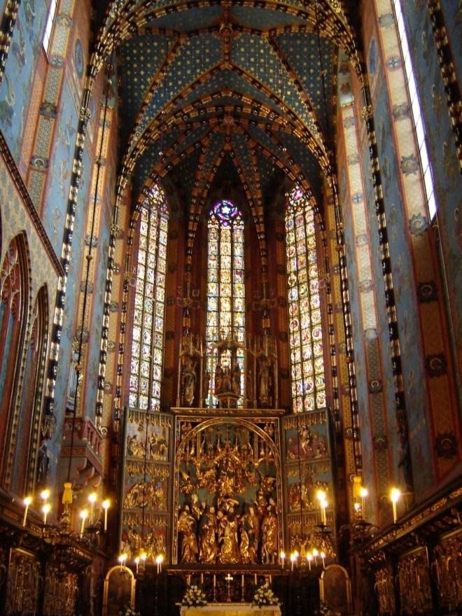 St. Mary's Basilica, interior, Krakow, Poland