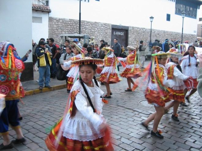Dancing street procession, Cuzco, Peru
