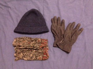 Cold weather travel gear, hat, gloves, scarf or gaiter